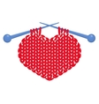 Knitted heart isolated vector