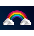 Rainbow with clouds cartoon background vector