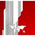 Red and grey technology background with world map vector