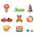 Different kinds of toys for children vector