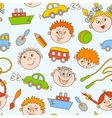 Seamless doodle smiling boys and girls vector