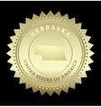 Gold star label nebraska vector