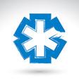 Brush drawing simple blue ambulance symbol vector