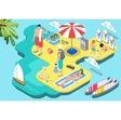 Isometric flat beach life - summer holidays vector