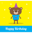 Cute cartoon bear with hat happy birthday party ca vector