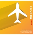 Plane  flat modern web button with long shadow and vector