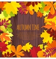 Autumn leaves on a wooden background vector