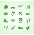 Vacation travel green icons set vector