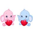 Baby elephants holding hearts vector