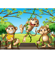 Three monkeys at the wooden bridge vector