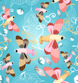 Pattern of beautiful butterflies vector