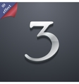 Number three icon symbol 3d style trendy modern vector