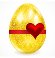 Golden egg with floral ornaments vector
