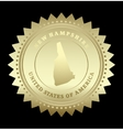 Gold star label new hampshire vector