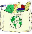 Groceries in a canvas bag vector