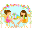 Girls relaxing in the garden vector