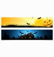 Set of horizontal halloween banners vector