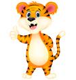 Cute tiger cartoon giving thumbs up vector