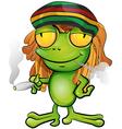 Rastafarian frog cartoon vector