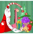 Santa claus with sweets in a long beard tree with vector