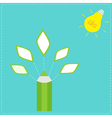 Pencil with leaf icons and light bulb sun idea con vector
