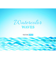 Watercolor waves landscape vector