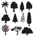 Collection of trees silhouettes vector