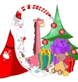 Santa claus with sweets in a long beard tree vector