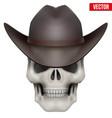 Human skull with cowboy hat on head vector