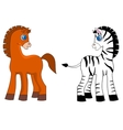 A horse and zebra vector