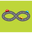 Road infinity sign and three cartoon cars vector