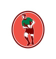 Rugby player running passing ball retro vector