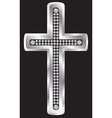 Silver cross with diamonds vector