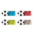 Four soccer balls with blue red green silver vector