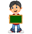 Cartoon boy holding board vector