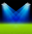 Bright spotlights illuminated green field stadium vector
