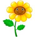 Cartoon flower with face vector