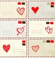 Valentine envelope with red heart sketch and place vector