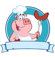 Pig chef cooking pork cartoon vector