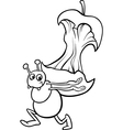 Ant with apple core coloring page vector