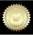 Gold star label ohio vector