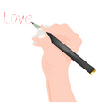 Hand with pencil vector