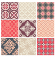 Set of nine colorful seamless patterns vector