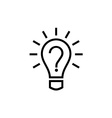 Light bulb lamp icon with question mark inside vector