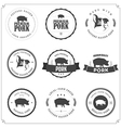 Set of premium pork meat labels vector