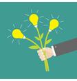 Businessman hand holding idea light bulb flowers vector