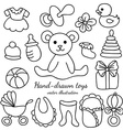 Hand-drawn baby goods and toys set vector