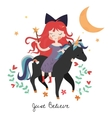 Whimsical girl on black unicorn vector