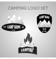 Set of silver outdoor adventure badges and vector