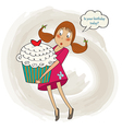 Young pretty girl who carries a big cake birthday vector